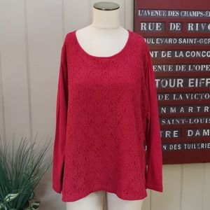 Eddie Bauer | XXL fuschia lace front long sleeve